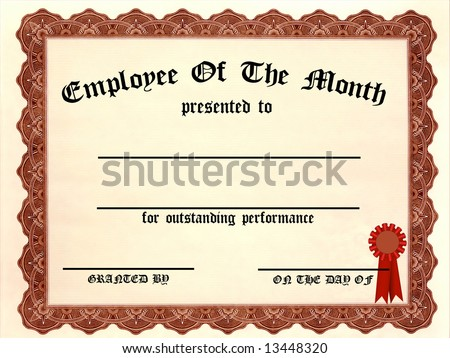 Employee Of The Month Certificate   Fill In The Blanks  Employee Of The Month Certificate Template Free