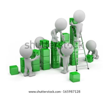 Employees build profit chart. 3d image. White background. - stock photo