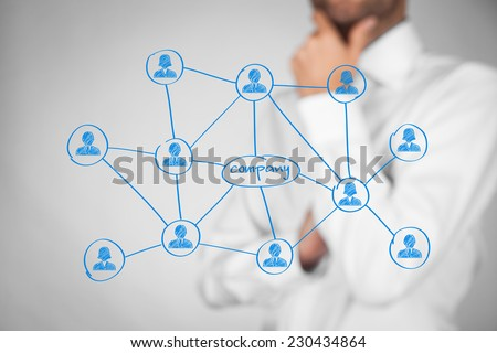 Employees customers and right contacts is the most important for company. Corporate social media connections with customers concept. Businessman think about contacts and their benefits for company.