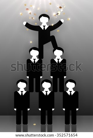 Employees of the company standing on the shoulders of each other forming a human pyramid. Head is at top and it pours rain of money from gold coins. Symbolizes working team in modern corporations. - stock photo