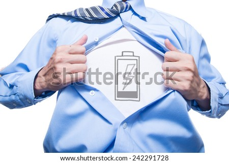 Employees showing a charger energy in his suit  - stock photo