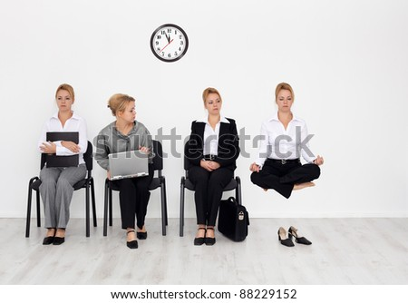 Employees with special skills wanted concept - job candidates, the yoga master - stock photo
