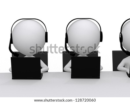 Employees working in a call center - stock photo