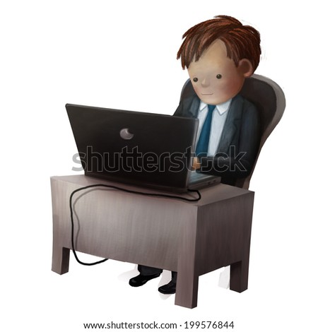Employer working on the computer, isolated illustration