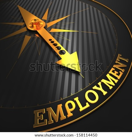 """Employment - Business Concept. Golden Compass Needle on a Black Field Pointing to the Word """"Employment"""". 3D Render. - stock photo"""