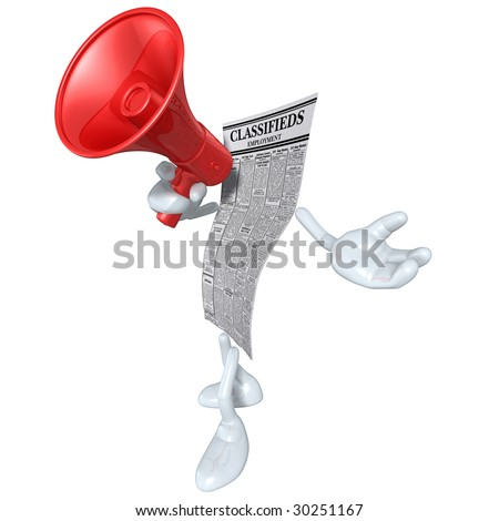 Employment Classifieds With Megaphone - stock photo