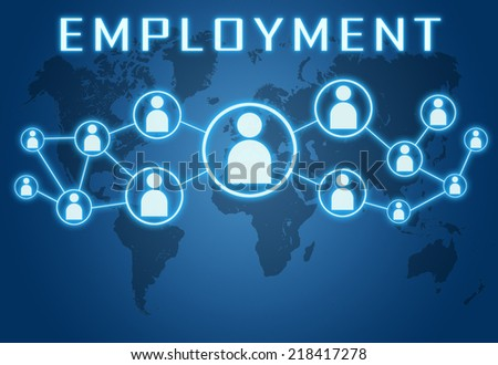Employment concept on blue background with world map and social icons. - stock photo