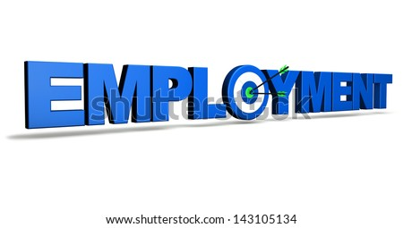 Employment concept with blue sign, target and two arrows on green centre. - stock photo