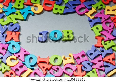 Employment concept with letters on background
