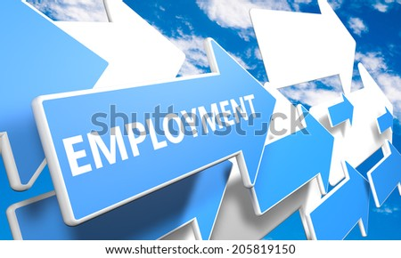 Employment 3d render concept with blue and white arrows flying in a blue sky with clouds - stock photo