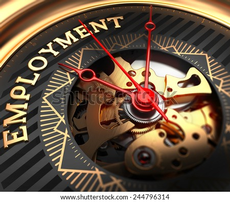 Employment on Black-Golden Watch Face with Closeup View of Watch Mechanism.  - stock photo