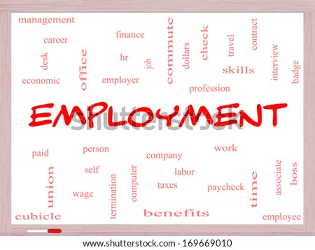 Employment Word Cloud Concept on a Whiteboard with great terms such as work, company, boss, job and more. - stock photo