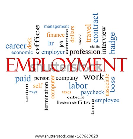 Employment Word Cloud Concept with great terms such as work, company, boss, job and more. - stock photo