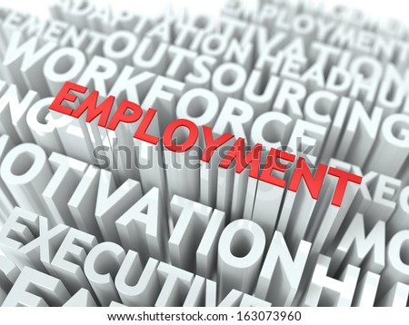 Employment - Word in Red Color Surrounded by a Cloud of Words Gray. Wordcloud Concept. - stock photo