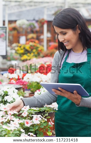 Emplyee choosing white flowers with tablet pc in garden center - stock photo