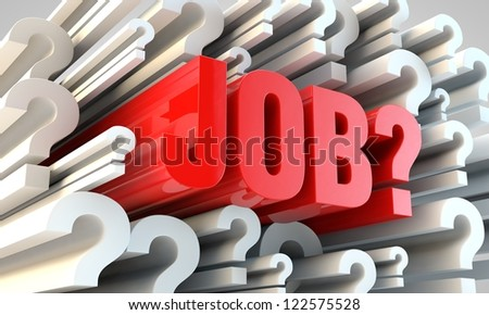emplyment concept. red job letters with question marks