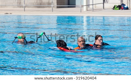 EMPOLI, ITALY - SEPTEMBER 20, 2015: Lifeguard dogs, italian school Cani Salvataggio - S.I.C.S. Rescue demonstration in swimming pool.