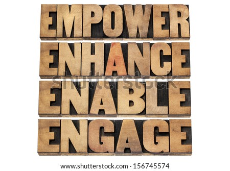 empower, enhance, enable and engage - motivational business concept - a collage of isolated words in letterpress wood type - stock photo