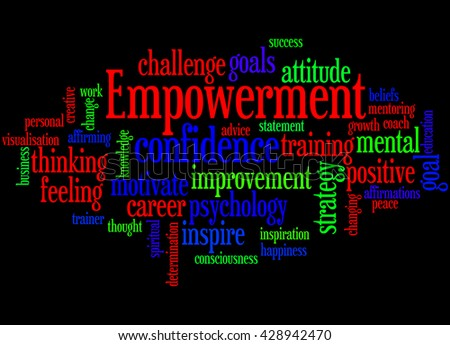 Empowerment, word cloud concept on black background. - stock photo