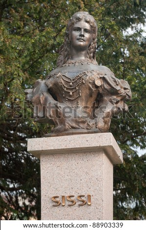 Empress Elisabeth of Austria and Queen of Hungary, also known as Sissi (Sisi). sculpture in Presov, Slovakia. - stock photo