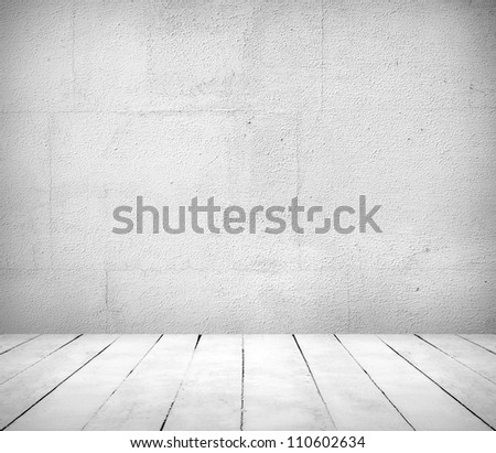 Empty a white Interior of vintage room without ceiling from gray grunge stone wall and old tiled floor. - stock photo