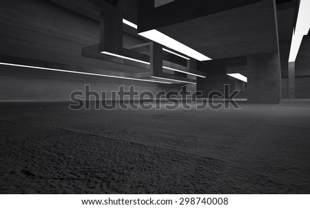 Empty abstract concrete room interior. 3D illustration. 3D rendering - stock photo