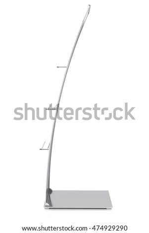 Empty advertising stand with shelves. Isolated on white background. Include clipping path. 3d render