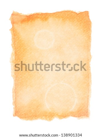 Empty aged paper isolated on white background - stock photo