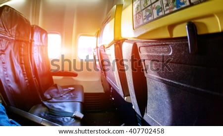 empty aircraft cabin - stock photo
