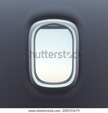 empty aircraft's porthole isolated on black,  - stock photo