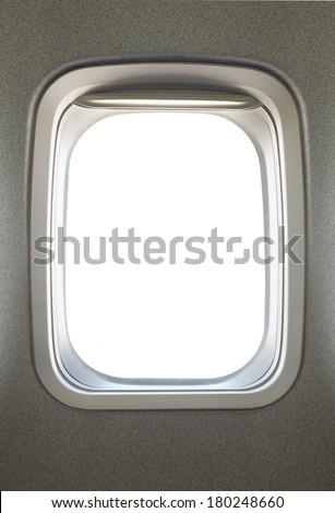 Empty airplane glass window - stock photo