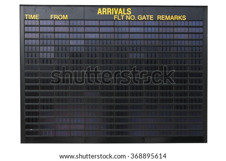 Empty airport arrivals information screen, you can fill in your own text - stock photo