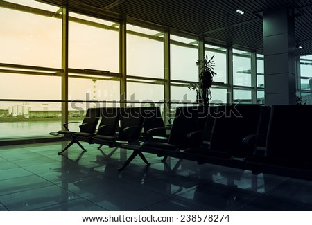 Empty airport hall. Morning view of departure room of airport terminal. - stock photo
