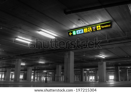 Empty Airport Parking Garage - stock photo