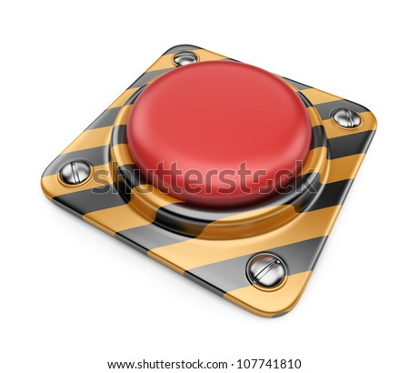 Empty alert red button. 3D Icon isolated on white background - stock photo