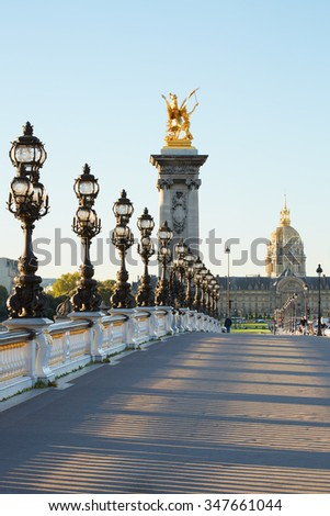 Empty Alexander III bridge in Paris in the early morning, France - stock photo