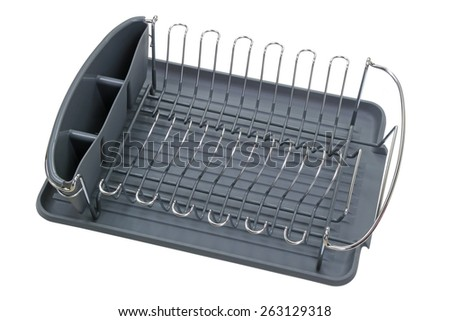 Empty aluminum dish rack shelf with a gray tray for drying dish and kitchenware, isolated on white  - stock photo
