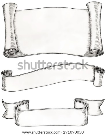 Empty ancient paper scroll and ribbons illustration, ink drawing, clipping path - stock photo