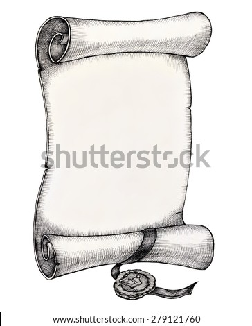 Empty ancient paper scroll with royal stamp illustration, ink drawing, clipping path - stock photo