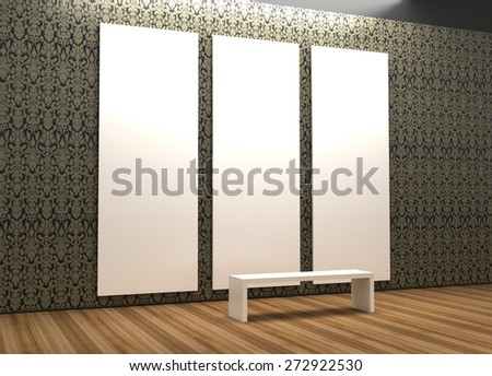 Empty and blank art gallery, original three dimensional models. - stock photo