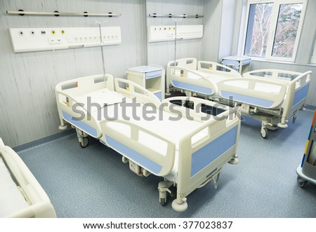 Empty and clean hospital bed for patients in a surgery block in urology clinic, oncology hospital in Sofia, Bulgaria, February 04, 2016.