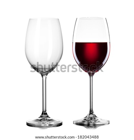 empty and full glass of wine isolated on white - stock photo