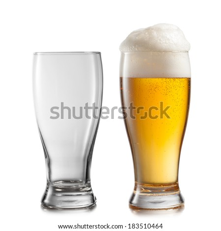 Empty and full glasses of beer isolated on white background - stock photo