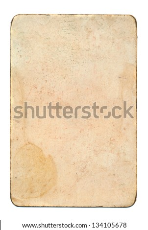 empty and grunge playing card isolated on white paper background - stock photo