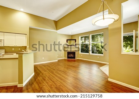 Empty apartment with open floor plan. Living room with hardwood floor and fireplace in the corner