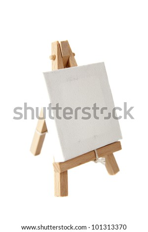 Empty artists canvas on an easel, shot on white, put your own image on it