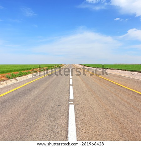 Empty asphalt road through green fields aspiring to horizon - stock photo