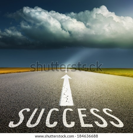 Empty asphalt road towards the big cloud and signs symbolizing success and safety - stock photo