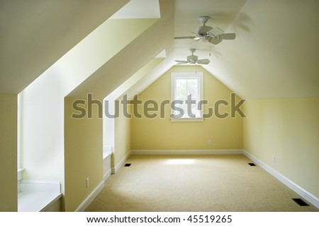 empty attic bedroom, place your own furniture - stock photo
