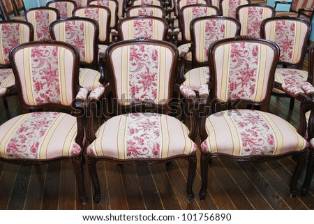 empty auditorium with chairs, theatre or conference hall - stock photo